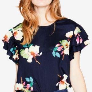 NEW RACHEL Rachel Roy Floral Ruffle Sleeve Top MD